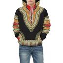 3D Contrast Tribal Printed Long Sleeve Hoodie