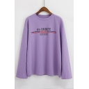 AN UNRIPE Letter Printed Round Neck Long Sleeve Graphic T-Shirt