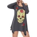 Floral Skull Print Round Neck Long Sleeve Asymmetric Hem Tunic Tee