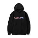 Chic FAKE LOVE Letter Printed Long Sleeve Unisex Hoodie