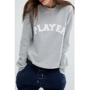 PLAYER Letter Applique Round Neck Long Sleeve Sweatshirt