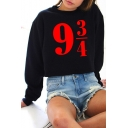 Number Printed Round Neck Long Sleeve Unisex Sweatshirt