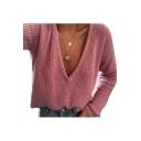 Chic V Neck Long Sleeve Plain Leisure Sweater