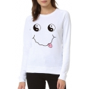 Tai Chi Smile Face Print Round Neck Long Sleeve Sweatshirt