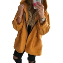Stylish Plain Long Sleeve Zip Up Hooded Plush Coat