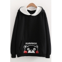 Cute Bear Embroidered Ears Embellished Hood Long Sleeve Casual Hoodie