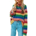 Chic Colorful Striped High Neck Long Sleeve Pullover Sweatshirt