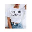 MERMAID Letter Shell Print Round Neck Short Sleeve T-Shirt
