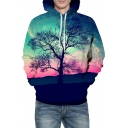 Fancy Aurora Tree Printed Long Sleeve Unisex Hoodie