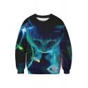 3D Lamp Cat Printed Round Neck Long Sleeve Sweatshirt