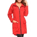 Plain Long Sleeve Zip Up Tunic Hooded Raincoat