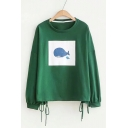 Whale Printed Round Neck Long Sleeve Lace Up Detail Sweatshirt