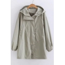 Zip Up Long Sleeve Plain Trench Hooded Coat