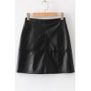 Chic High Waist Zip Fly Back Plain PU Mini A-Line Skirt