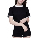 Contrast Trim Heart Shape Hollow Out Back Short Sleeve Crop Tee
