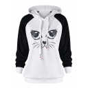 Color Block Raglan Long Sleeve Cat Printed Leisure Hoodie