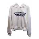 PROTECT ME Letter Printed Long Sleeve Casual Hoodie