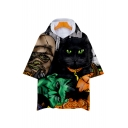 3D Cat Monster Printed Short Sleeve Hooded Tee