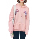 Crane Floral Embroidered Long Sleeve Casual Hoodie
