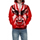 Oversized 3D Monster Print Long Sleeve Unisex Red Hoodie