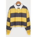 Lapel Collar Color Block Long Sleeve Cropped Polo Sweatshirt