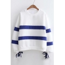 Color Block Striped Round Neck Bow Tie Cuffs Long Sleeve Sweatshirt