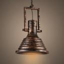 Mesh Diffuser Panel Design Vintage Pendant Light in Mottled Rust Iron Finish 13.78