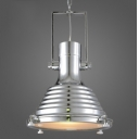 Polished Chrome Finish Ribbed Design Hanging Pendant Light with Platen Glass Diffuser 15.75