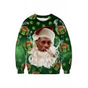 Funny Christmas Series Character Gift Printed Round Neck Long Sleeve Sweatshirt