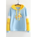 Lovely Dog Letter Printed Color Block Long Sleeve Leisure Hoodie