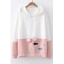 Color Block Fish Embroidered Bear's Paw Embellished Drawstring Hood Long Sleeve Hoodie