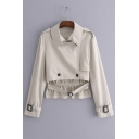 Lapel Collar Long Sleeve Plain Double Breasted Dip Hem Crop Trench Jacket