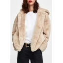 Winter Collection Plain Faux Fur Long Sleeve Warm Hooded Jacket