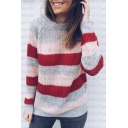 Color Block Striped Round Neck Long Sleeve Leisure Sweater