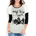 Color Block Halloween Series Letter Printed Round Neck 3/4 Length Sleeve Casual Tee