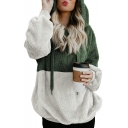Winter Collection Color Block Plush Long Sleeve Warm Hoodie