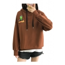 Cartoon Frog Letter Embroidered Long Sleeve Casual Hoodie