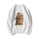 Christmas Cat Printed Round Neck Long Sleeve Pullover Sweatshirt