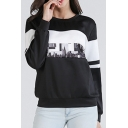 Color Block Building Print Round Neck Long Sleeve Sweatshirt