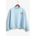 Panda Embroidered Mock Neck Long Sleeve Pullover Sweatshirt