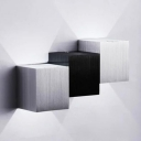 Aluminum Directional Led Up/Down Lighting 6W Square/Vertical Rectangular Wall Sconce in Silver/Black Die Cast Outdoor Wall Light Fixture