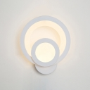 Indoor Decorative White Acrylic Led Sconce 17W High Bright 2-LED Halo Wall Light Bathroom Bedside Stairways Pathway Round LED Outward Light Direction Wall Fixture
