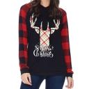 Deer Letter Contrast Plaid Raglan Sleeves Leisure Hoodie