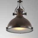 Platen Glass Diffuser Design Vintage Hanging Light Fixture with Weathered Steel Dome Shade