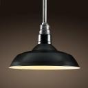 Black/White Finish Barn Shade Simple 1-Light Hanging Pendant Lamp with Antique Zinc Lamp Socket