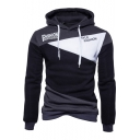 Color Block FASHION Letter Print Long Sleeve Panelled Hoodie