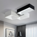 Modern LED Flush Mount Lighting 24W Square Recessed Lighting Rectangular Surface-Mount Lighting in Black/Silver 3 Designs for Options