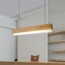 Cord Adjustable LED Linear Fixture 16W-20W Wooden Led Hanging Light 31.5
