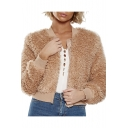 Plush Stand Up Collar Long Sleeve Plain Cropped Baseball Jacket
