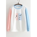Color Block Rabbit Letter Printed Long Sleeve Round Neck Sweatshirt